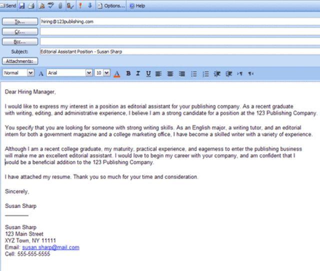 sending resume via email samples