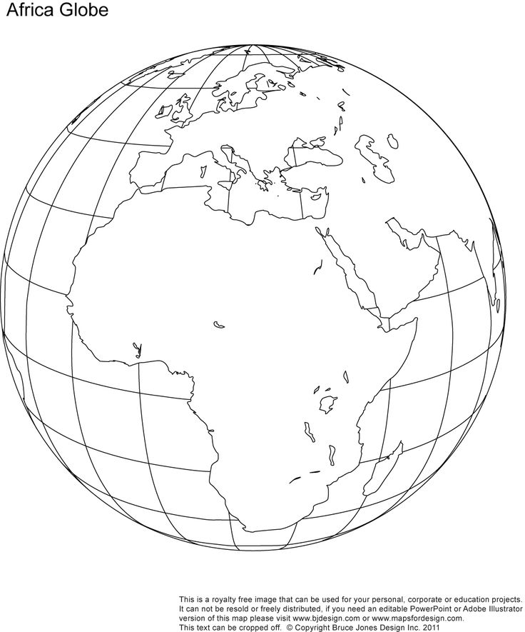 Africa, Middle East Globe map, printable, blank, outlne