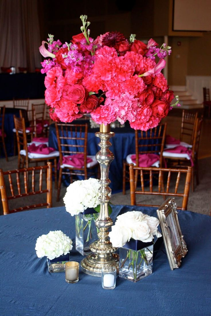 Navy Blue And Pink Weddings Wedding Centerpieces Http