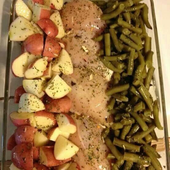 Green beans, chicken breast, potatoes, butter, italian seasoning. Bake 350 degre