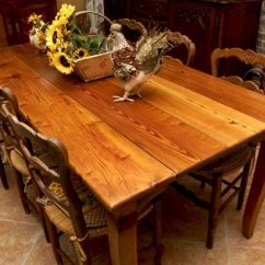 Farm Style Kitchen Table Inexpensive Decor French Heart Pine Wide Plank Dining From ...