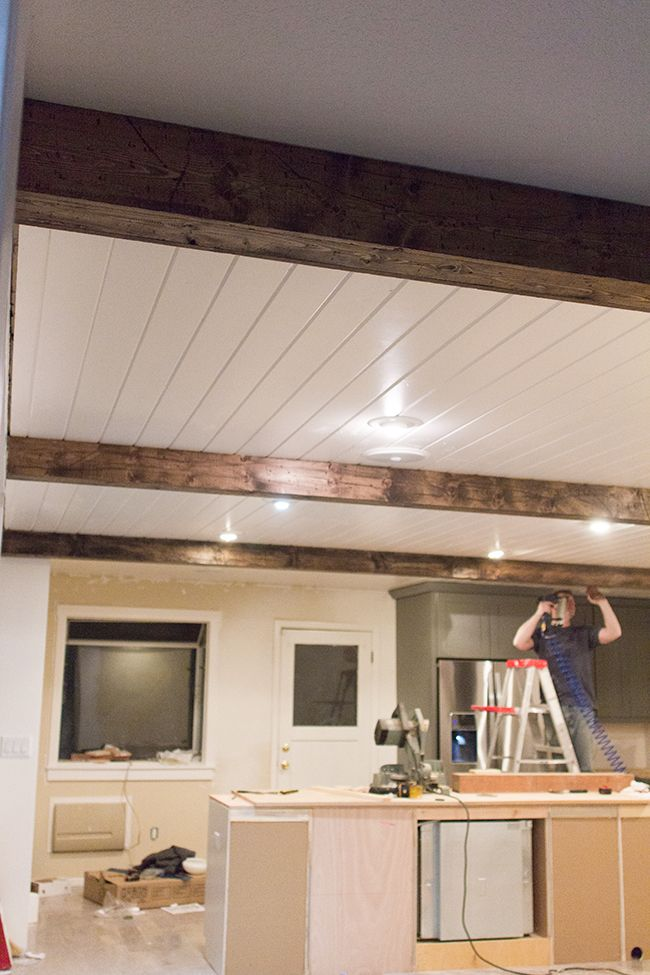 DIY Faux Wood Beams really cool idea how she made them