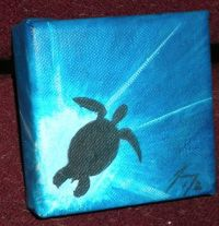 Sea Turtle Silhouette Small Original Painting by ...