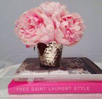 Fine Silk Floral Arrangement Faux Pink Peonies in Mercury ...