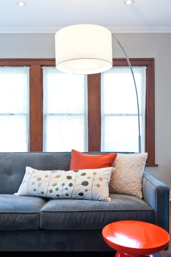 living room ideas cream and grey decorating for with a fireplace large floor lamp, blue sofa, orange accent stool ...
