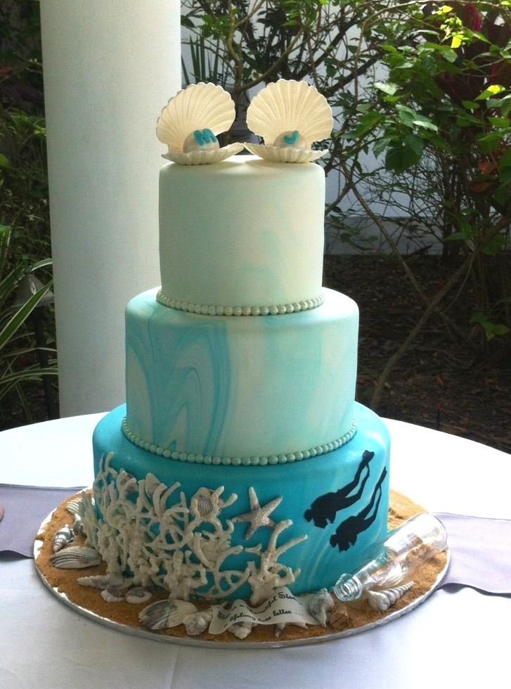 19 Best Images About Beach And Ocean Theme Wedding Cakes