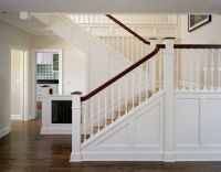 Craftsman or Mission style staircase. Knee wall, white and ...