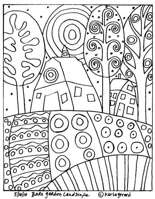 RUG HOOKING CRAFT PAPER PATTERN Barn Garden Landscape Folk