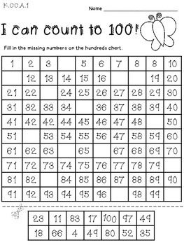 Counting To 100 Worksheets For Kindergarten Free