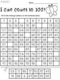 Counting To 100 Worksheets For Kindergarten Free ...