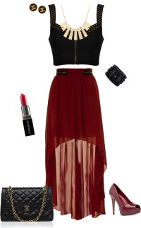 """""""Edgy Outfit - Cropped Top and Maxi skirt"""" by stylelover10 ..."""