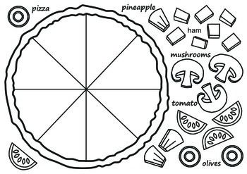Pizza template. Use it in the ESL classroom for a