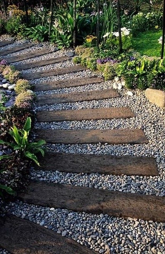 Railroad tie and gravel garden/side yard walkway. This would make a great path to my secret