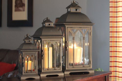Cheap Outdoor Candle Lantern  Set of 3 Indoor or Outdoor Lombard Candle Lanterns  Bronze