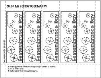Free Remembrance Day activities for kids. Bookmarks to