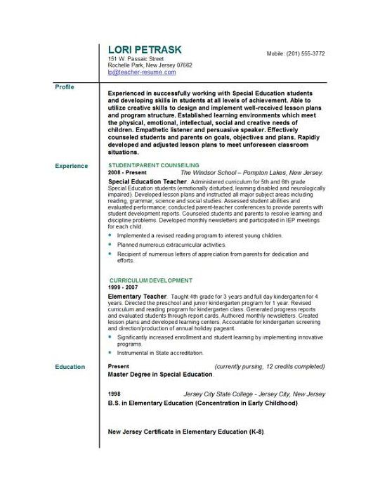Examples Of Elementary Teacher Resumes
