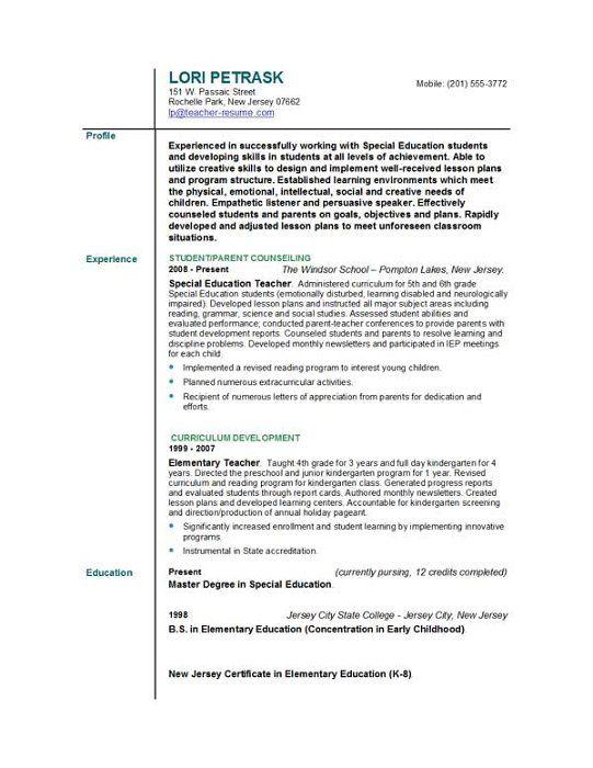 Special Education Teacher Resume Resumecareer