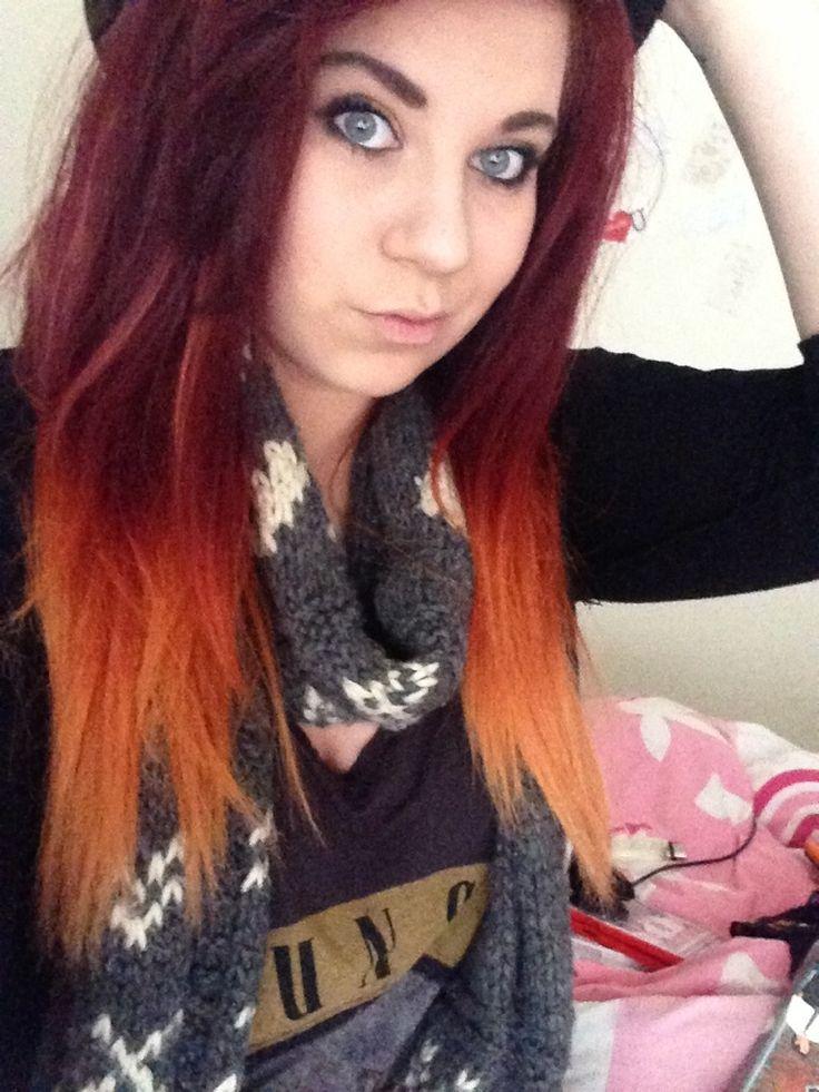 Dip Dye Hair Black To Red Red to orange dip dye  hair ideas  Pinterest  Dip dye hair Ombre