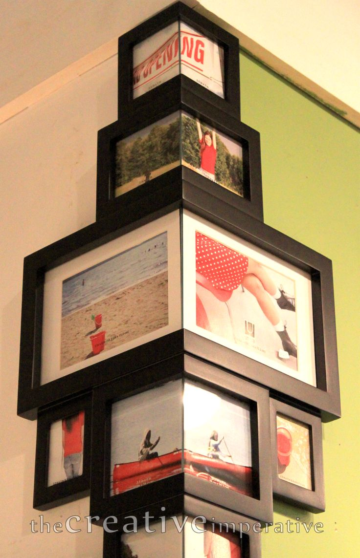 Corner photo frames…love this idea and is SO unique!