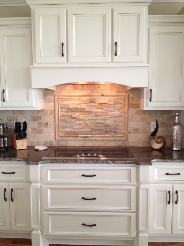 kitchen backsplash tile designs trashcan custom cabinetry, travertine and ledger stone ...