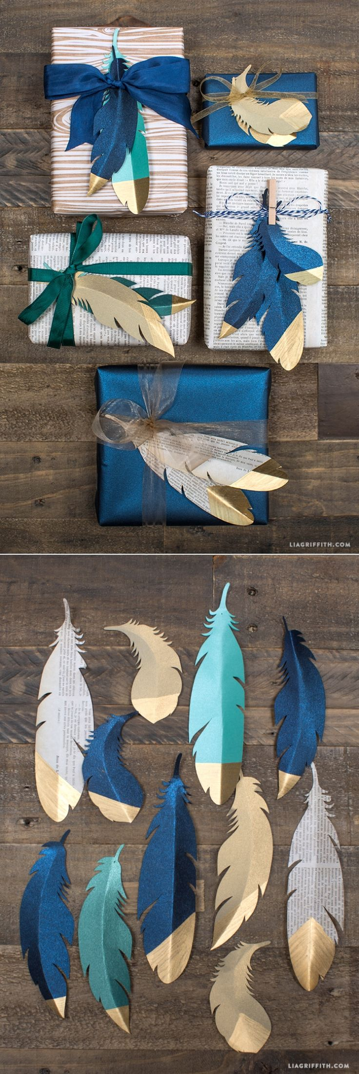 #paperfeathers #goldfeathers #giftwrapping www.LiaGriffith.com: