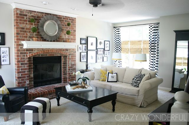 Whitewash Fireplace Photos Crazy Wonderful: Revere Pewter Wall With Red Brick
