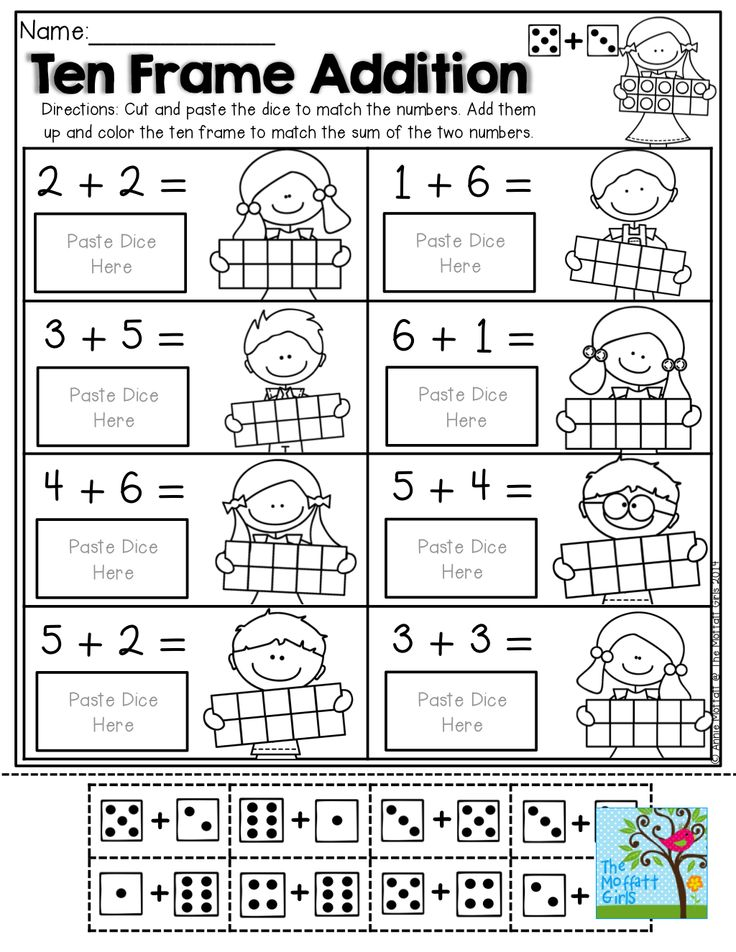 Ten Frame Addition with DOMINOS, addition facts and ten