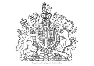 Coat of arms colouring page, queen pudding? crown toss