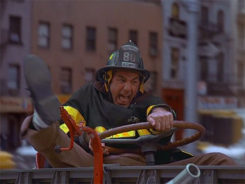 Kramer driving the fire engine in The Secret Code