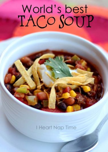 World's best taco soup at iheartnaptime.net ! This is a ONE pot dish and is less than 300 calories per bowl! It makes a great freezer meal too!: