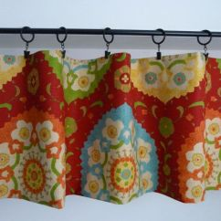 Red And Cream Curtains For Living Room Upholstered Chairs Flat Valance, Orange, Blue Curtain The Kitchen ...