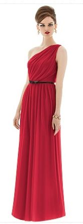 Dessy – Greek inspired red bridesmaid dress