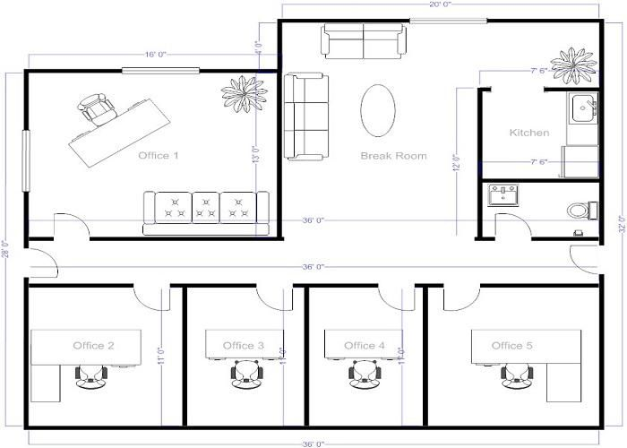 4 Small Offices Floor Plans