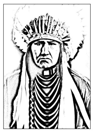 native coloring american indian pages drawings headdress chief simple adult americans