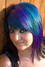 turquoise purple and black hair