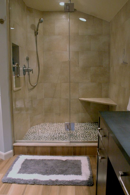 large brick porcelain shower pebble floor  Bathrooms