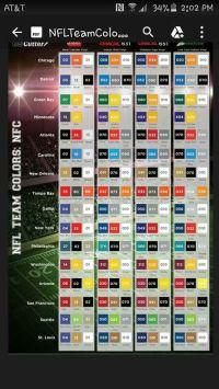 NFL Team Color Chart | Silhouette - HTV | Pinterest ...