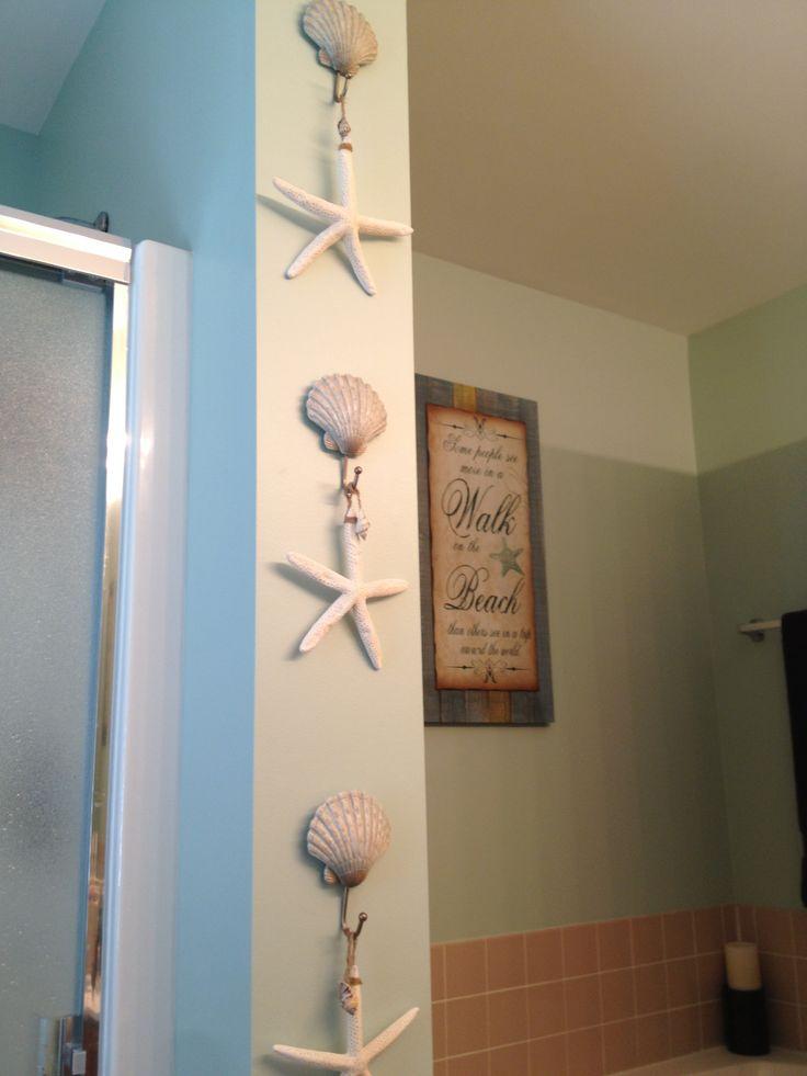 Beach bathroom decorbeach shell hooks from kohls and