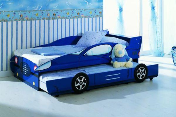 KIDS BLUE TRUNDLE BED RACING BOYS CAR BED DIY Kids Bed