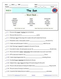Bill Nye - Sun  Worksheet, Answer Sheet, and Two Quizzes ...