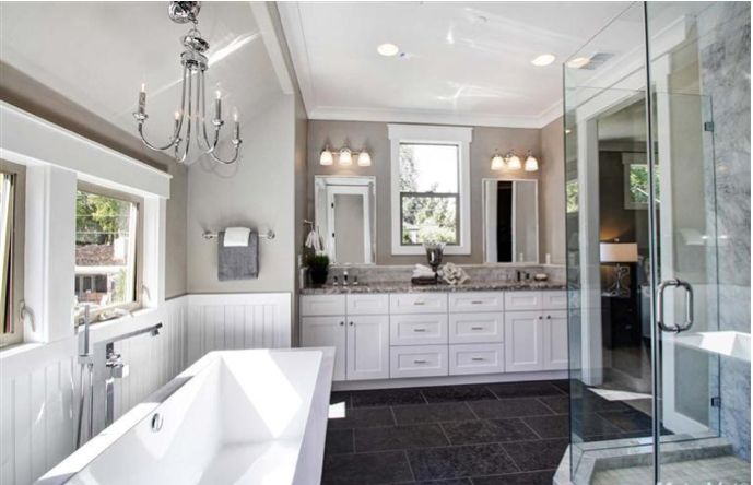 White Vanity Aran Granite looking top Dark Floor White Wainscoting East Sacramento