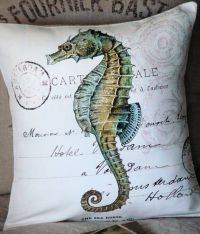 Pillow Cover Green Seahorse Beach Decor | Seahorses ...