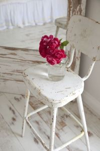 painted wood floor and chair - distressed, chipped paint ...