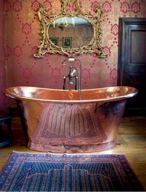 tudor copper bath from Athelhampton House a historical home in Dorset England.