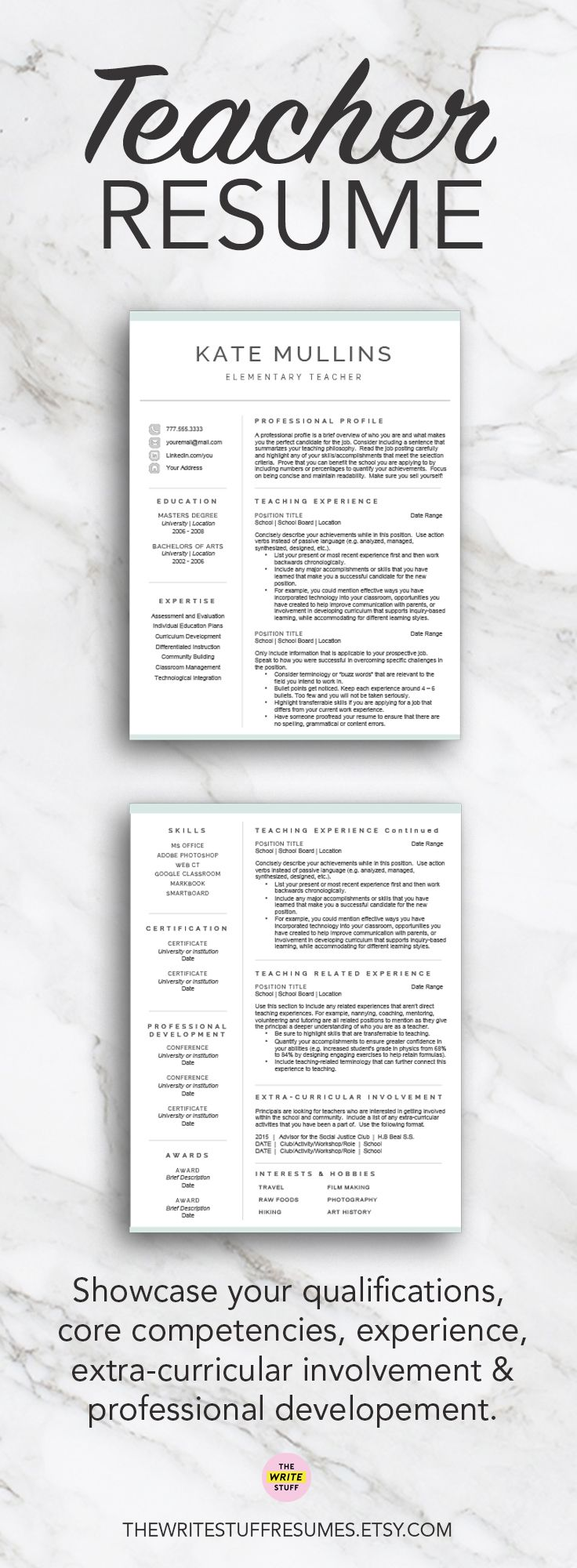 Resume Teacher Resume Templates Best 25 Teacher Resume Template Ideas On  Pinterest For Word Pages 1