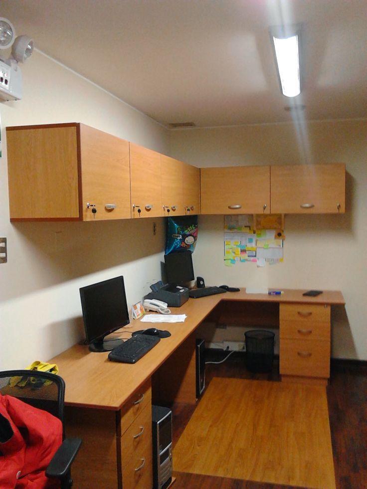 Archivadores altos y escritorios en L  Oficinas