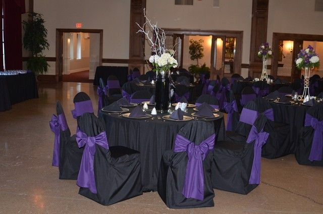 purple chair sashes for weddings amish chairs ohio color schemes black table cloth ribbons gold accessories | full length linens ...