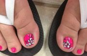 pedicure with solid bright pink