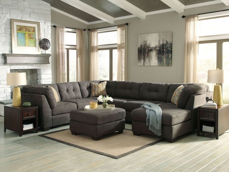 Alba Large Modern Gray Microfiber Living Room Sofa Couch