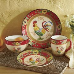 Cheap Kitchen Cabinet Sets Outdoor Patio 16-piece Sunflower Rooster Dinnerware Set From Seventh ...